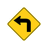 USA traffic road signs. advance warning of a low speed sharp left curve. vector illustration
