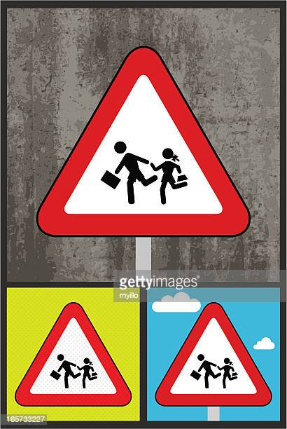 traffic sign, back to school,kids - zebra crossing stock illustrations