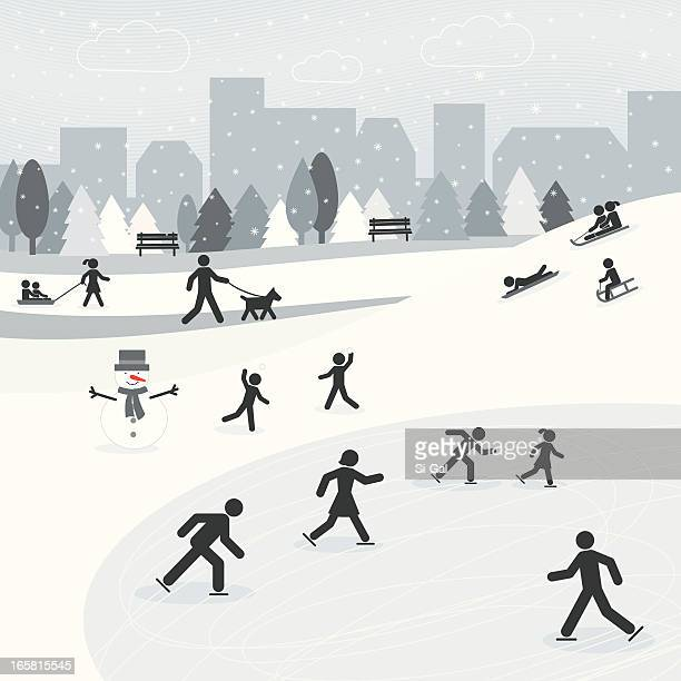 traffic sign silhouette people playing at winter park - tobogganing stock illustrations, clip art, cartoons, & icons
