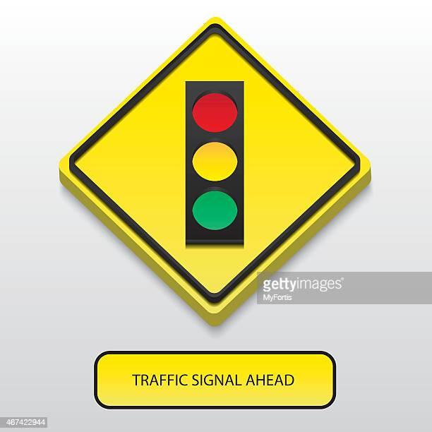 3D Traffic signal ahead sign