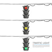 Traffic signal on a white background