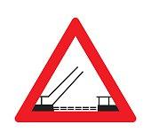 Traffic signs opening or swing bridge ahead.