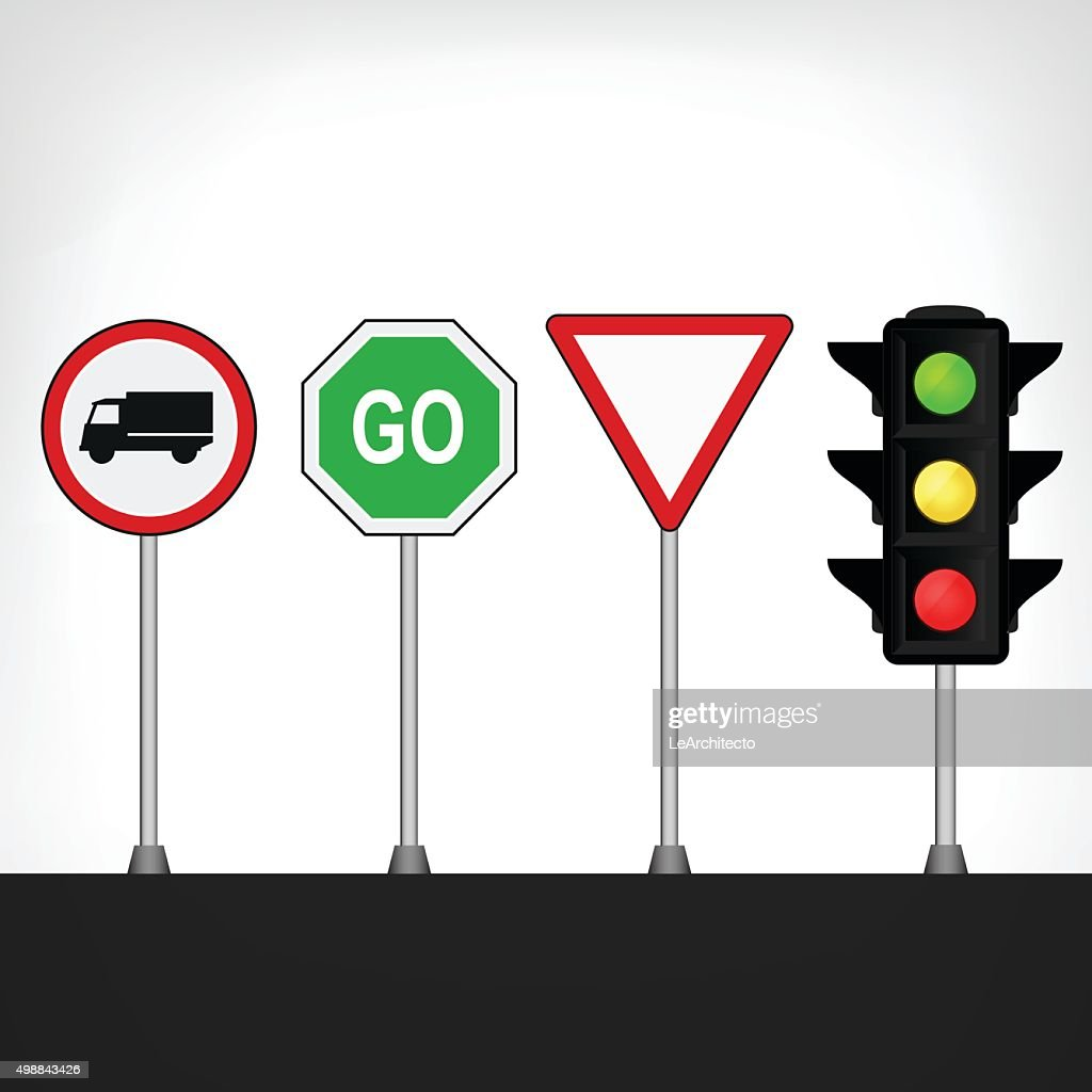 traffic signs set with semaphore isolated