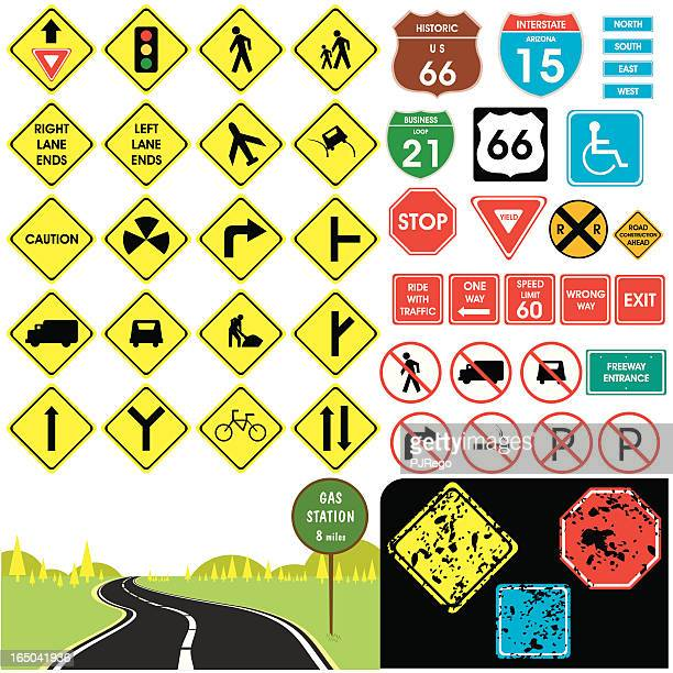 traffic signs - avenue stock illustrations