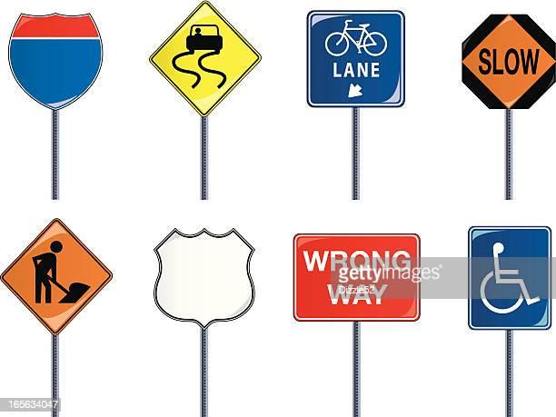traffic signs - wrong way stock illustrations