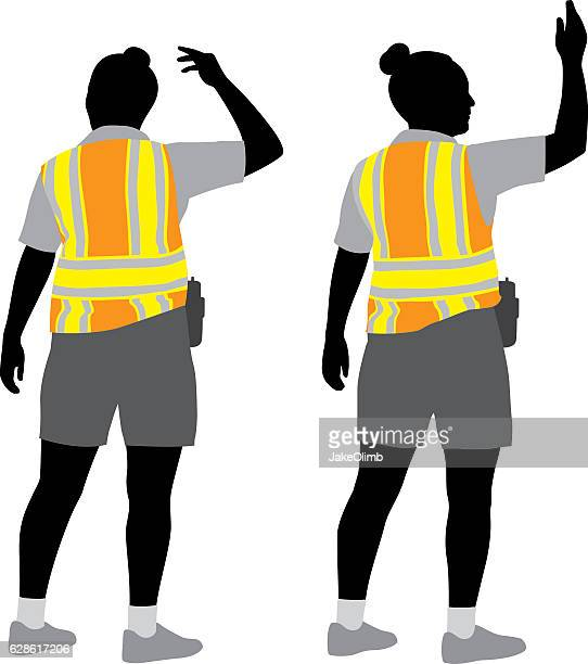 traffic woman silhouettes - waistcoat stock illustrations, clip art, cartoons, & icons