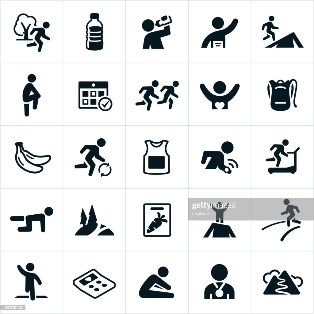 Trail And Road Running Icons : stock illustration