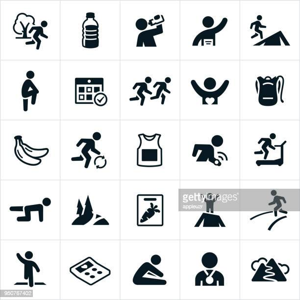 stockillustraties, clipart, cartoons en iconen met trail en de weg loopt van pictogrammen - food and drink