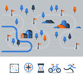 Trail map with flags, outdoor running, cycling route, countryside landscape, sport activity