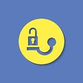 Trailer tow hitch unlock warning vector hmi dashboard flat icon