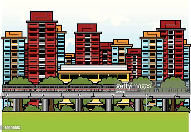 MRT train among HDB flats