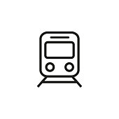 Train and railroad line icon