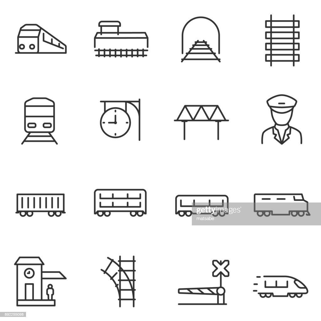 train and railways icon set.  Line with editable stroke