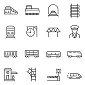 train and railways icon set.  Line with editable stroke
