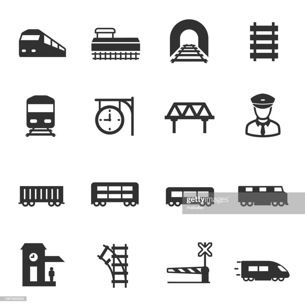 train and railways, icons set. intercity, international, freight trains