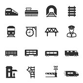 train and railways, icons set. intercity, international, freight trains