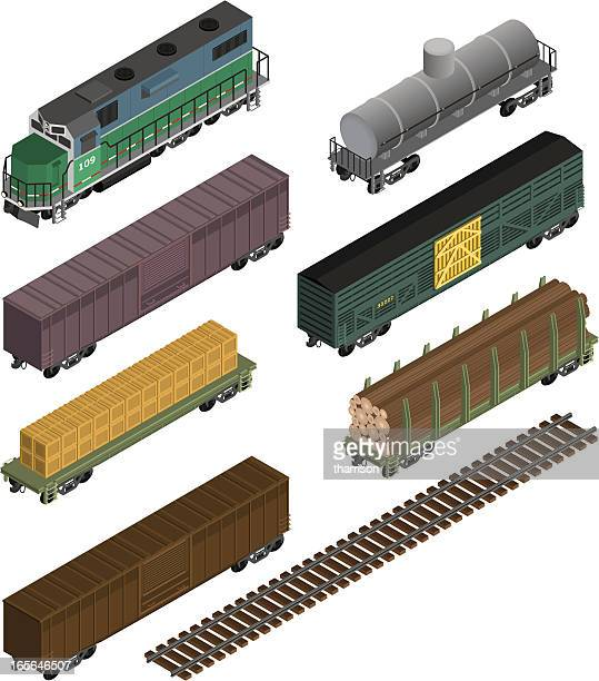 train cars isometric - carriage stock illustrations