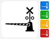 Train Crossing Icon Flat Graphic Design