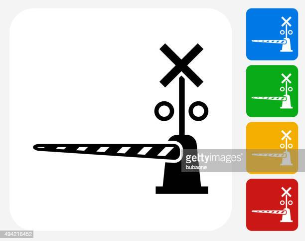 train crossing icon flat graphic design - crossing sign stock illustrations, clip art, cartoons, & icons