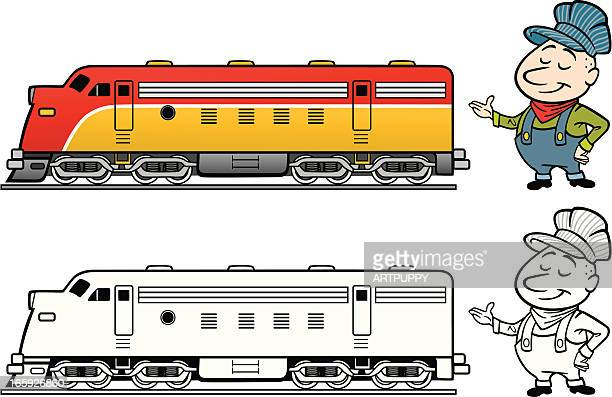 train engineer with diesel - miniature train stock illustrations, clip art, cartoons, & icons