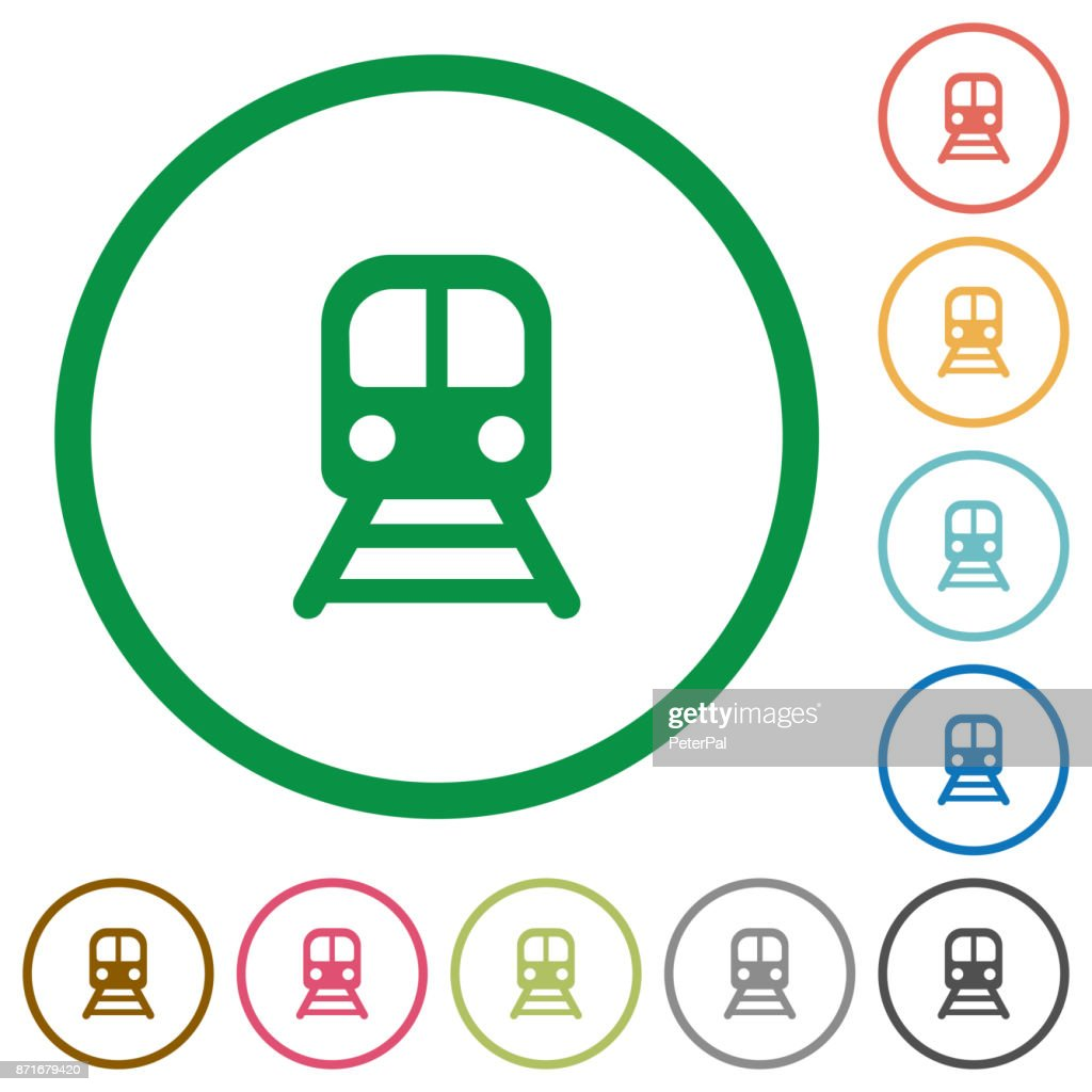 Train flat icons with outlines