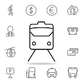 train front icon. Element of simple icon for websites, web design, mobile app, info graphics. Thin line icon for website design and development, app development on white background