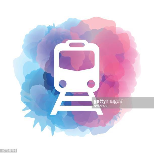 train icon on watercolor background - subway train stock illustrations, clip art, cartoons, & icons