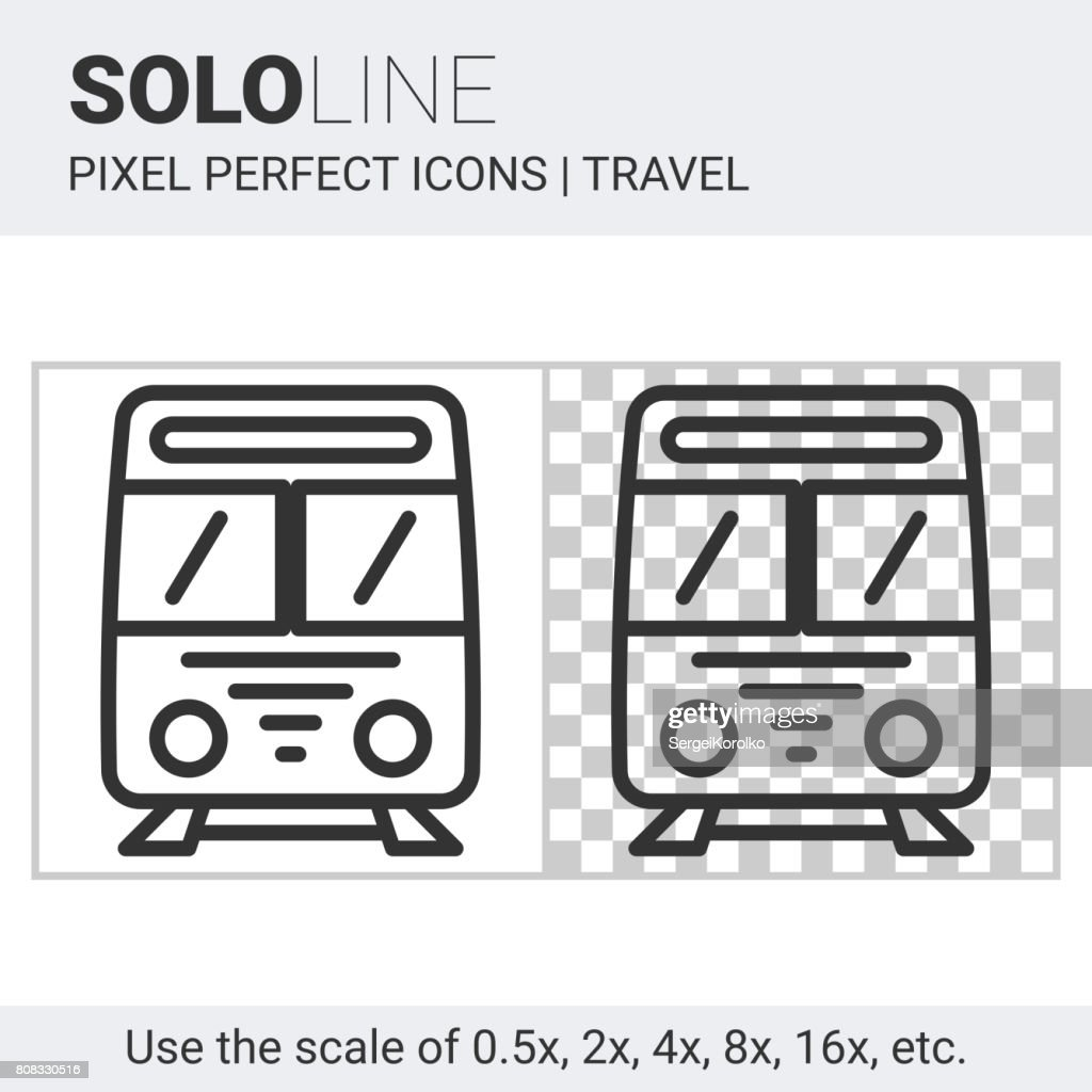 Train icon on white and transparent background