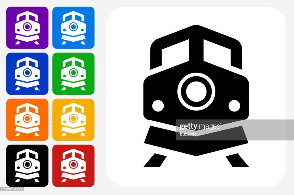 Train Icon Square Button Set : stock illustration