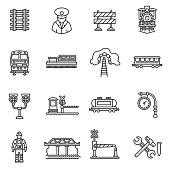 Train icons set. Editable stroke.