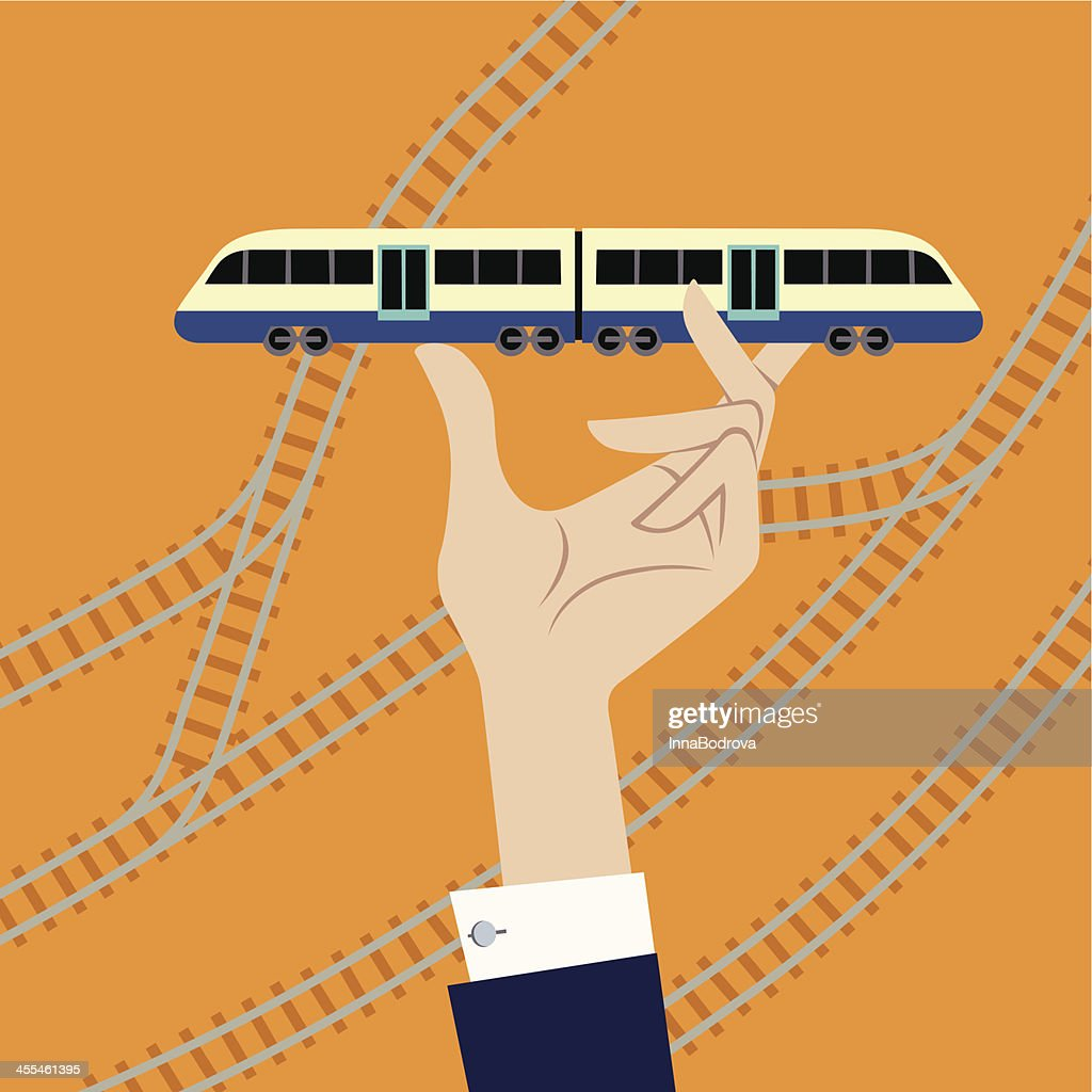 Train in Hand. : stock illustration