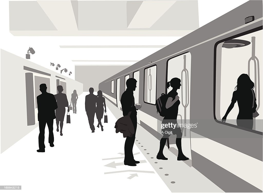 Train Is Comin' Vector Silhouette : stock illustration