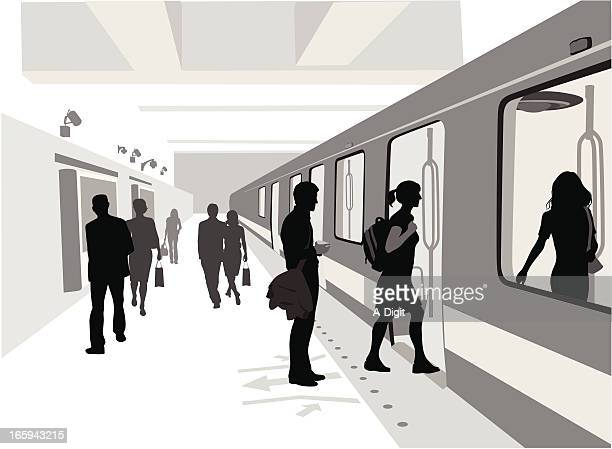 train is comin' vector silhouette - subway train stock illustrations, clip art, cartoons, & icons