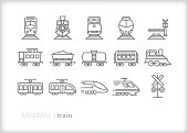 Train line icons of commuter, freight, steam and electric trains for transport, hauling and moving passengers