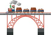 Train loaded with goods on the bridge