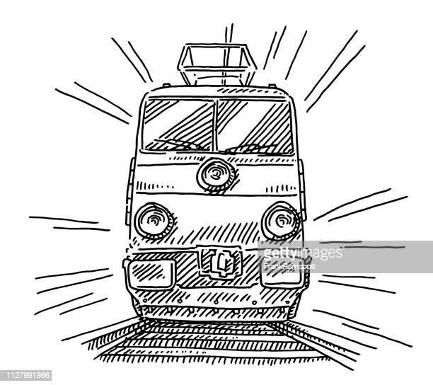Zug Dampflok Frontansicht Zeichnung