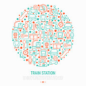 Train station concept in circle with thin line icons: information, ticket office, toilet, taxi, metro, waiting room, luggage storage, turnstile, food court, no smoking. Modern vector illustration.