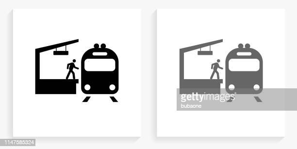 train stop black and white square icon - railway station stock illustrations