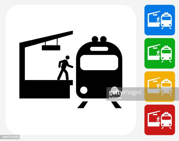 train stop icon flat graphic design - railway station stock illustrations