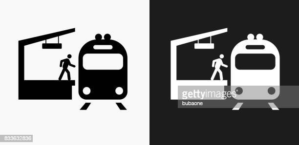 Train Stop Icon on Black and White Vector Backgrounds