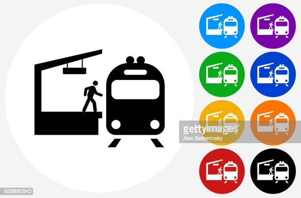 Train Stop Icon on Flat Color Circle Buttons