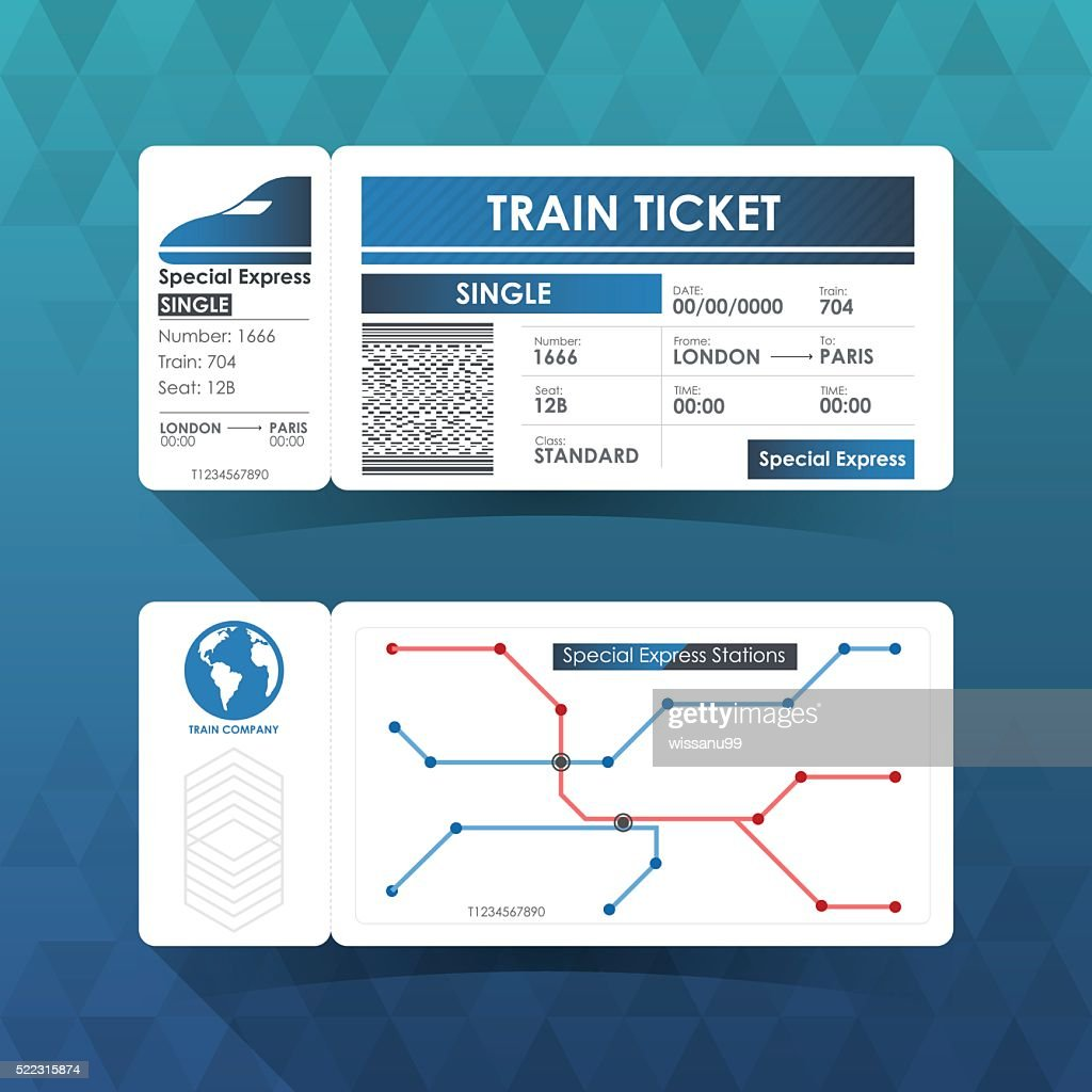 Train Ticket Card, Element Design with Blue Color. Vector illust
