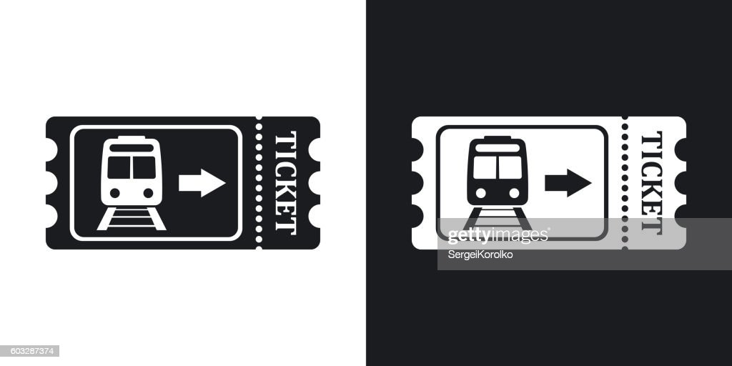 Train ticket icon, stock vector. Two-tone version