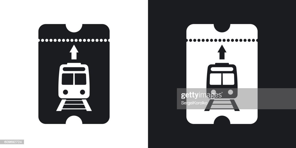Train ticket icon, vector. Two-tone version