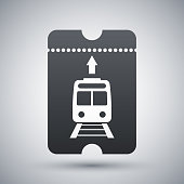 Train ticket icon, vector