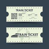 Train ticket vintage concept design. Vector illustration.