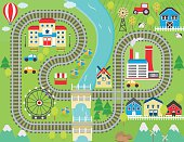 Train track play placemat