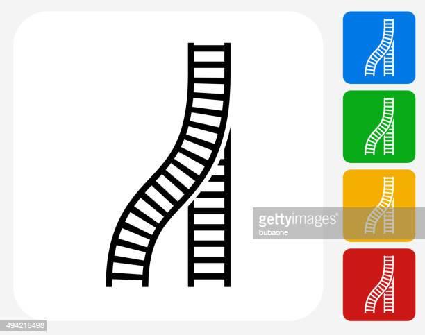 Train Tracks Icon Flat Graphic Design