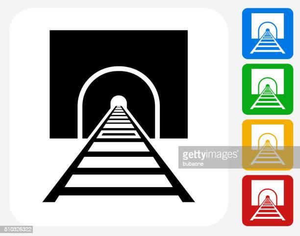 Tren pistas de iconos planos de diseño gráfico