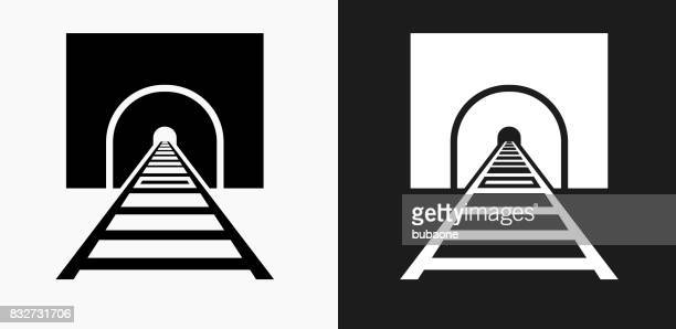 Train Tracks Icon on Black and White Vector Backgrounds